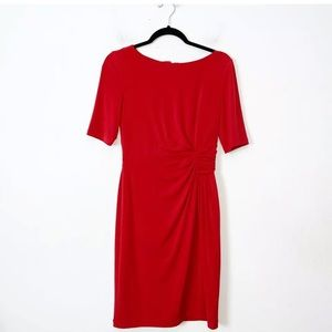 London Times Red Short Sleeve Sheath Dress